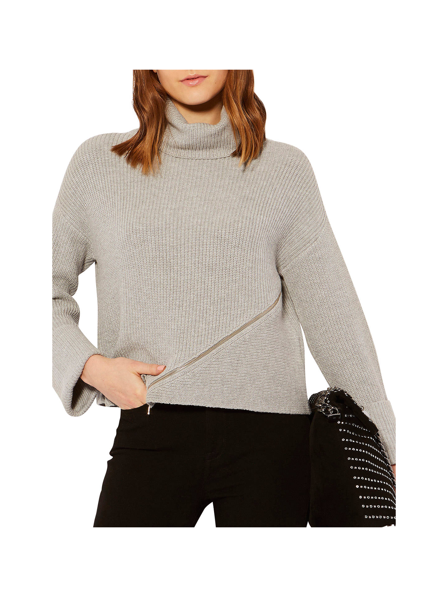 a8a366434e7fe2 Buy Karen Millen Chunky Zip Rib Jumper, Grey, XS Online at johnlewis.com ...