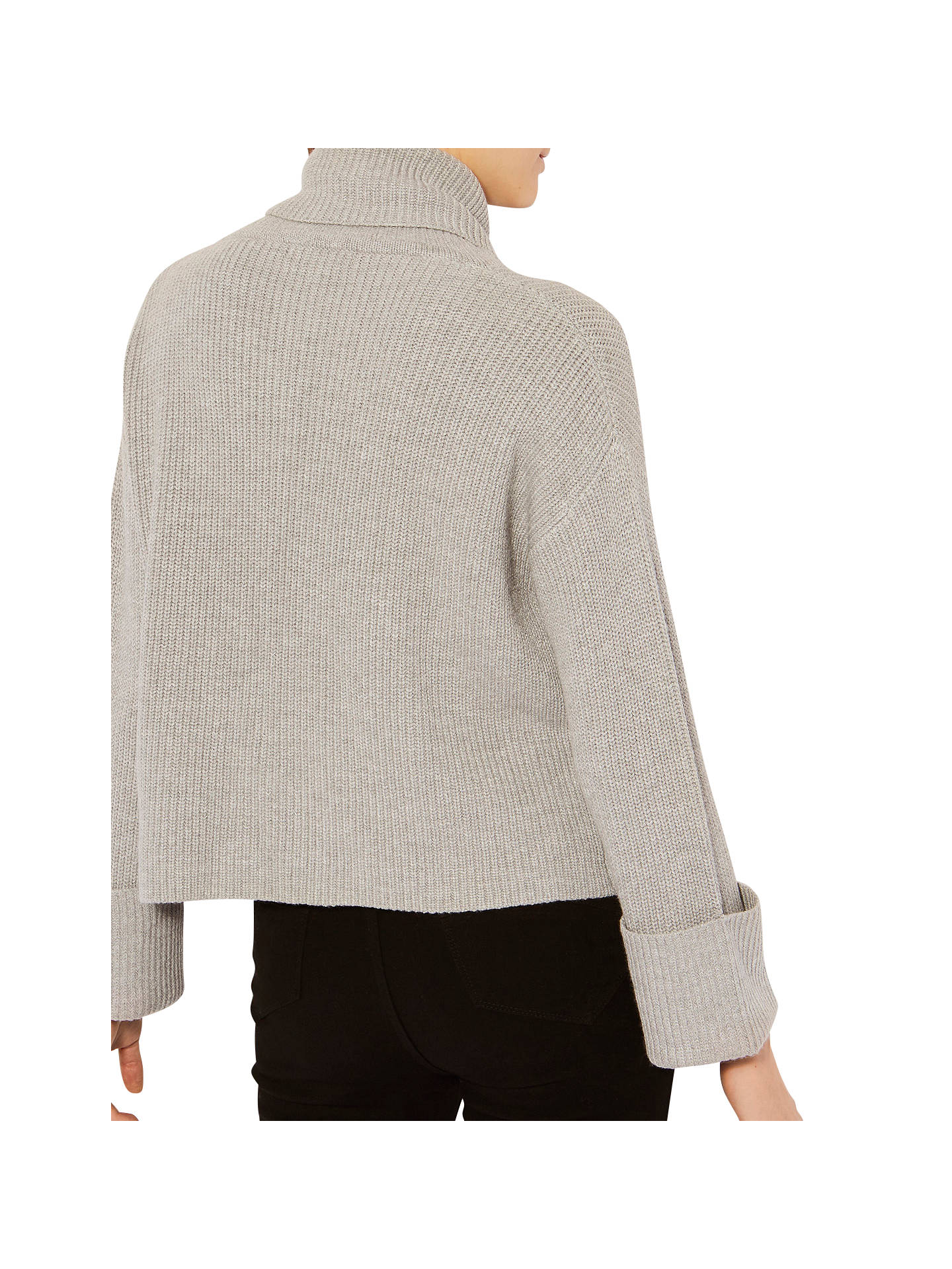 5f6fe537f021c2 ... Buy Karen Millen Chunky Zip Rib Jumper, Grey, XS Online at  johnlewis.com ...