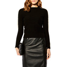 Buy Karen Millen Embellished Sleeve Jumper, Black Online at johnlewis.com