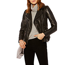 Buy Karen Millen Strong Shoulder Leather Biker Jacket, Black Online at johnlewis.com