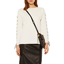 Buy Karen Millen Knitted Lace Detail Jumper, White Online at johnlewis.com