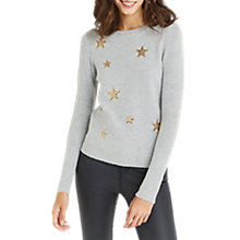 Buy Oasis Christmas Star Jumper, Mid Grey Online at johnlewis.com