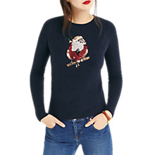 Buy Oasis Robin and Holly Christmas Jumper, Navy Online at johnlewis.com