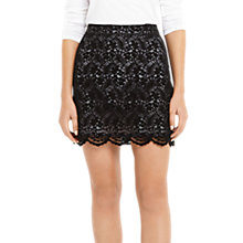 Buy Oasis Robin Flocked Lace Mini Skirt, Black Online at johnlewis.com