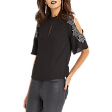 Buy Oasis Metallic Lace Trim Top, Black Online at johnlewis.com