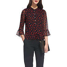 Buy Whistles Misty Eclipse Print Blouse, Red/Multi Online at johnlewis.com