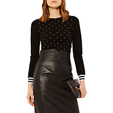 Buy Karen Millen Pearl Embellished Jumper, Black/Ivory Online at johnlewis.com