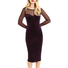 Buy Oasis Spot Mesh Velvet Midi Dress, Mid Purple Online at johnlewis.com