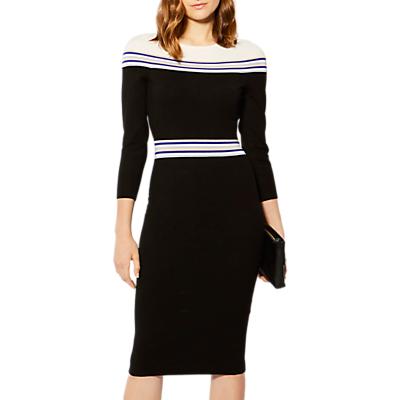 Product photo of Karen millen striped knitted midi dress black multi