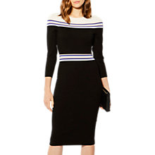 Buy Karen Millen Striped Knitted Midi Dress, Black/Multi Online at johnlewis.com