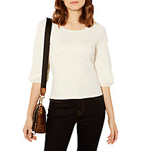 Buy Karen Millen Pearl Embellished Top, Ivory Online at johnlewis.com