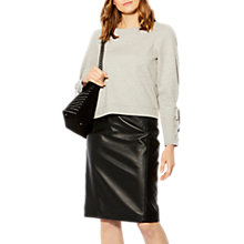 Buy Karen Millen Eyelet Detail Cuff Sweatshirt, Pale Grey Online at johnlewis.com