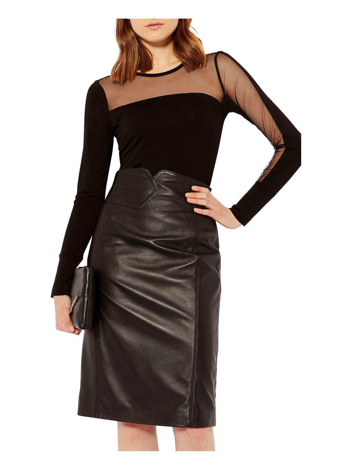 993086ec Buy Karen Millen Asymmetric Mesh Top, Black, 6 Online at johnlewis.com ...