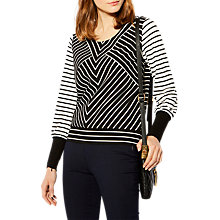 Buy Karen Millen Stripe Panel Jersey Top, Black/White Online at johnlewis.com