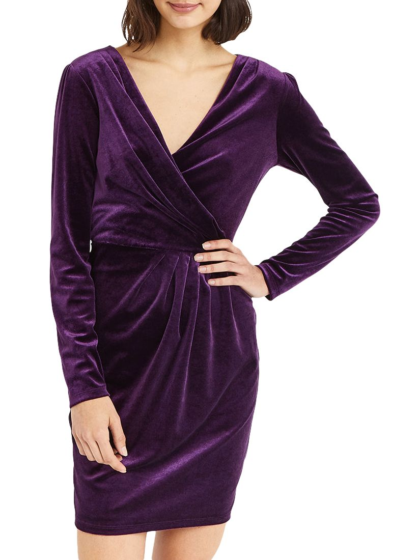 Oasis Romana Velvet Wrap Dress Mid Purple At John Lewis Partners