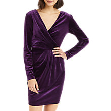 Buy Oasis Romana Velvet Wrap Dress, Mid Purple Online at johnlewis.com