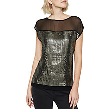 Buy Mint Velvet Sequin Jersey T-Shirt, Black/Multi Online at johnlewis.com