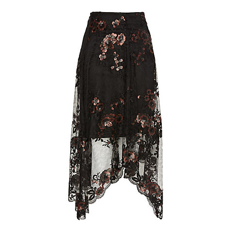 Buy Coast Ruth Lace Embroidered Skirt, Black Online at johnlewis.com
