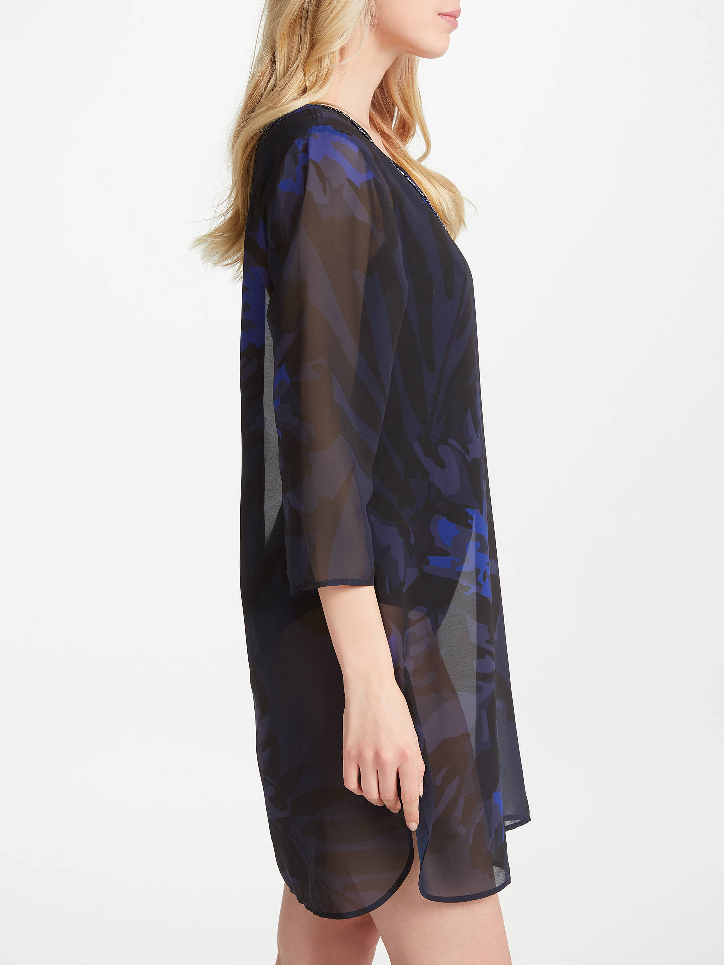 BuyJohn Lewis Tropical Peony Print Kaftan, Navy, S Online at johnlewis.com
