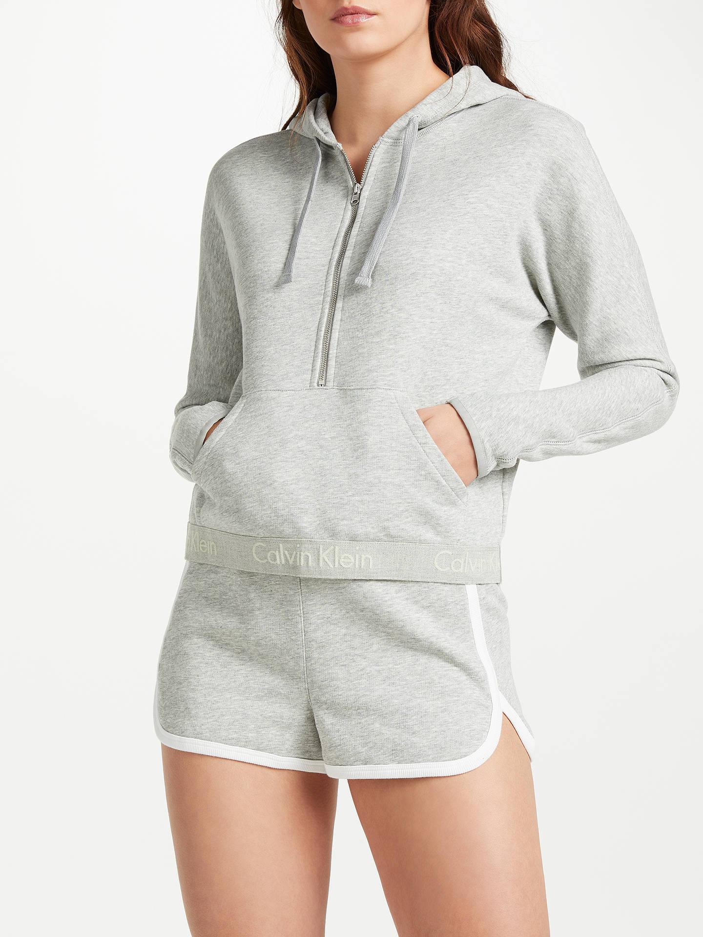 BuyCalvin Klein Half Zip Hoodie, Grey Heather, S Online at johnlewis.com ...