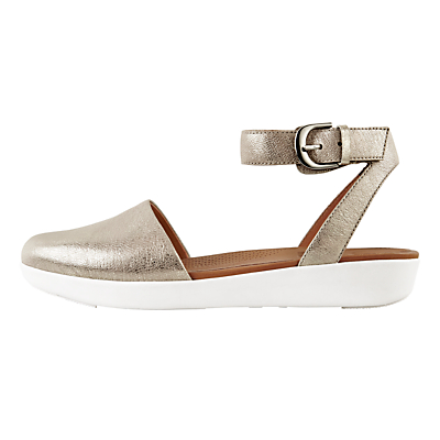 FitFlop Cova Closed Toe Sandals, Silver Leather
