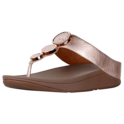 Product photo of Fitflop halo toe post sandals gold leather