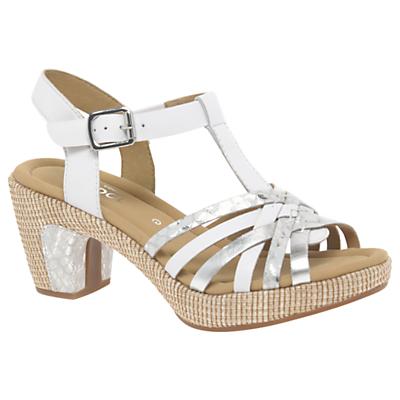 Gabor Cheri Wide Fitting Block Heeled Sandals, White Suede