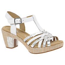 Buy Gabor Cheri Wide Fitting Block Heeled Sandals, White Suede Online at johnlewis.com