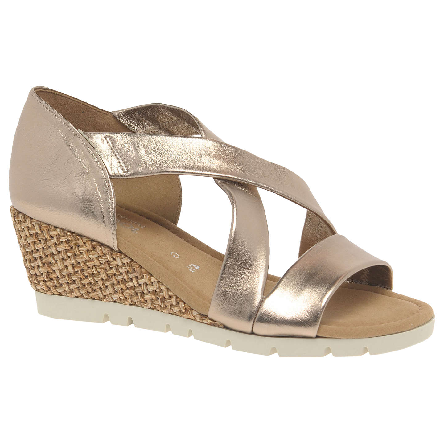 BuyGabor Lisette Wide Fit Cross Strap Sandals, Gold Leather, 3 Online at  johnlewis.