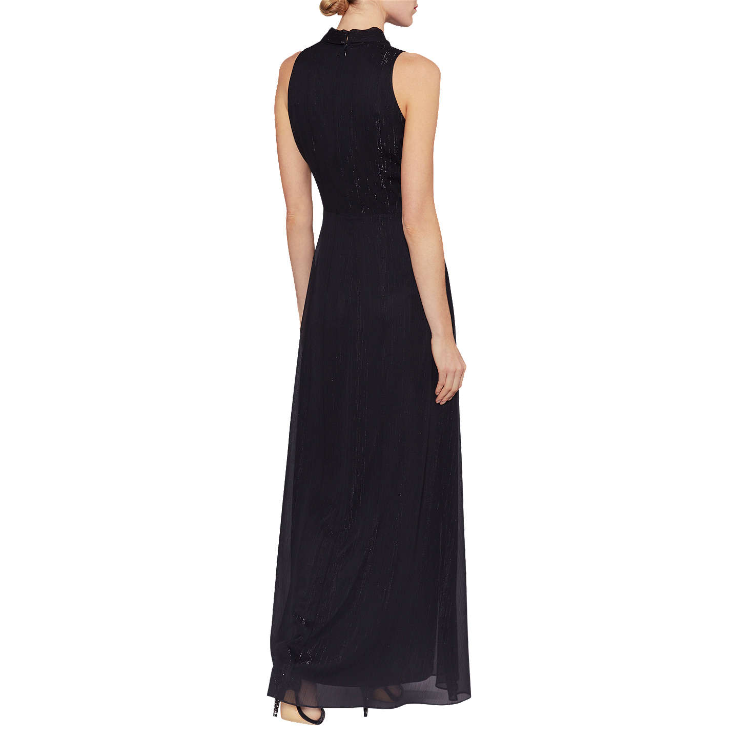 BuyGina Bacconi Yvette Met Effect Maxi Dress, Black, 10 Online at johnlewis.com