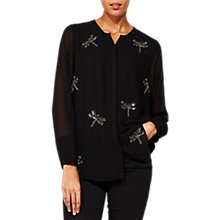 Buy Mint Velvet Dragonfly Beaded Blouse, Black Online at johnlewis.com