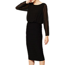 Buy Mint Velvet Long Sleeve Ribbed Dress, Black Online at johnlewis.com