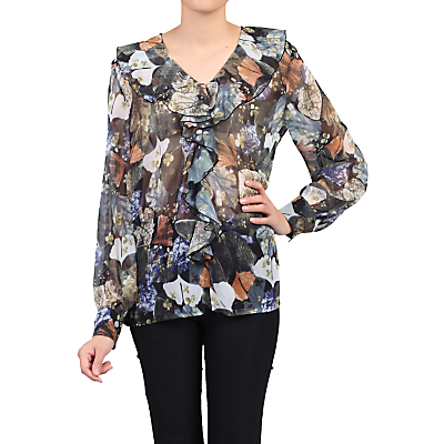 Product photo of Jolie moi floral frilly vneck blouse blue pattern