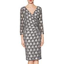 Buy Gina Bacconi Monica Floral Motif Lace Dress, Black/White Online at johnlewis.com