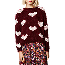 Buy Compañía Fantástica Fuzzy Heart Jumper, Burgundy Online at johnlewis.com