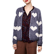 Buy Compañía Fantástica Fuzzy Heart Cardigan, Grey Online at johnlewis.com