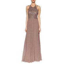 Buy Gina Bacconi Camille Beaded Bodice Maxi Dress, Latte Online at johnlewis.com