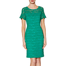 Buy Gina Bacconi Hermione Floral Lace Dress, Green Online at johnlewis.com