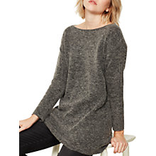 Buy Mint Velvet Ribbed Side Tunic Jumper, Granite Online at johnlewis.com