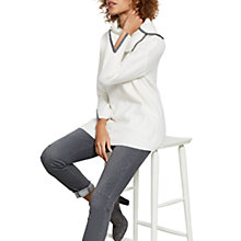 Buy Mint Velvet Split Neck Asymmetric Jumper, Ivory Online at johnlewis.com