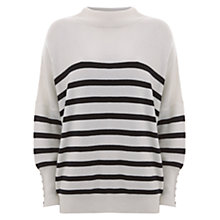 Buy Mint Velvet Stripe Funnel Neck Batwing Sleeve Jumper, Off White/Navy Online at johnlewis.com