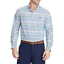 Buy Polo Golf by Ralph Lauren Performance Twill Check Shirt, Blue/Orchid Online at johnlewis.com