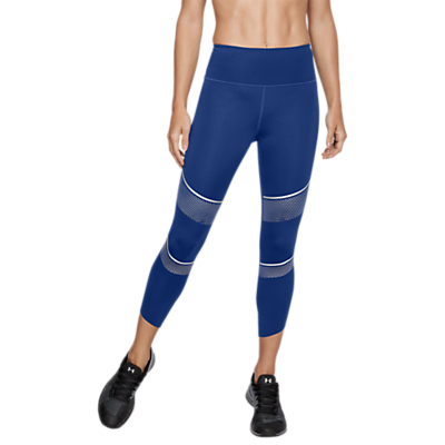 Under Armour Breathelux Metallic Cropped Training Leggings, Formation Blue/Metallic