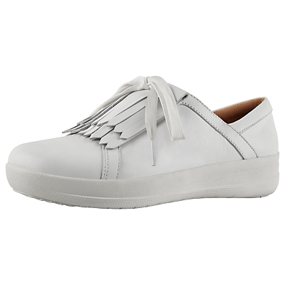 FitFlop F-Sporty II Lace Up Tassel Trainers, White Leather