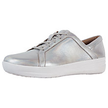 Buy FitFlop F-Sporty II Lace Up Trainers, Silver Leather Online at johnlewis.com