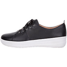 Buy FitFlop F-Sporty Scoop Cut Trainers, Black Leather Online at johnlewis.com