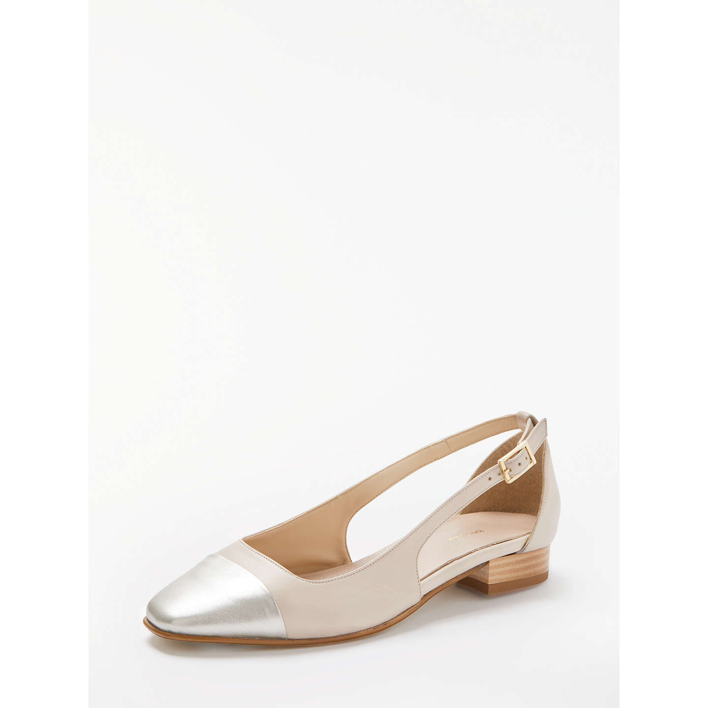 John Lewis Camilla Open Side Flat Toe Cap Court Shoes, Nude