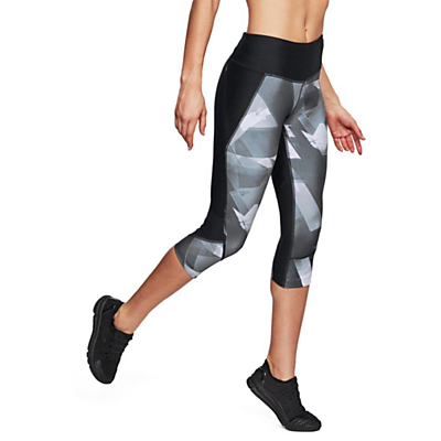 Under Armour Fly Fast Printed Running Capri Tights, Black/Reflective Silver