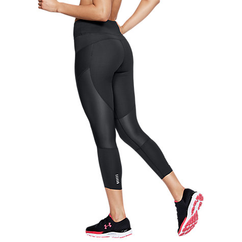 Buy Under Armour Speed Pocket Running Cropped Tights, Black/Reflective Silver Online at johnlewis.com