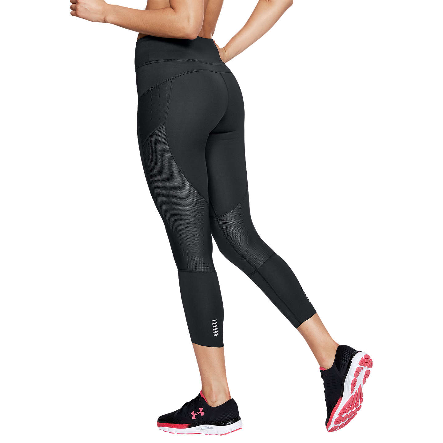 BuyUnder Armour Speed Pocket Running Cropped Tights, Black/Reflective Silver, XS Online at johnlewis.com